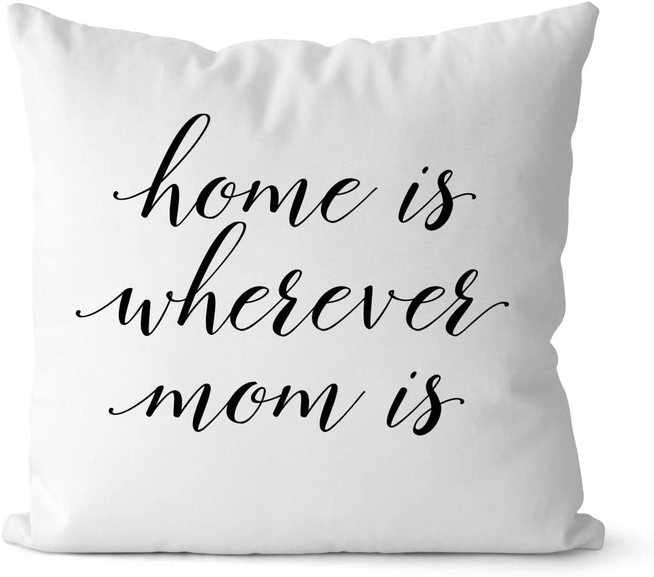 Bestbuddy Homestyle 18X18 inch Home is Wherever Mom is Typography Decorative Throw Pillow Case Cushion Cover Stylish Home Housewarming Comfort bbtp3