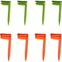 Wenosda Beach Towel Anchor Stakes Clips Blanket Picnic Fasten Pegs Set for Camping Travel & Beach Day (Green + Orange)
