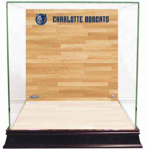 NBA Charlotte Bobcats Glass Basketball Display Case with Team Logo on Court Background