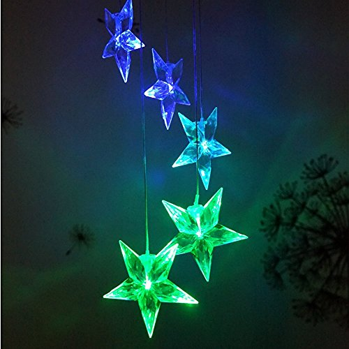 Lainin Solar Powered Wind Spinner Color Changing Clear Star Wind Chime Lamp Mobile For Outdoor Garden Home Patio Ligting Decoration