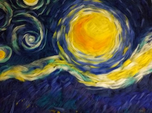 Modern Van gogh Starry night Wool Felted blanket Bedding gift by Alla Taisheva