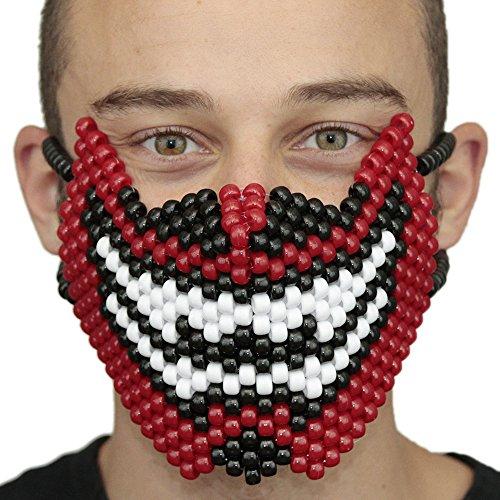 """Masque Kandi """"Dents de Démon"""" complet - Kandi Gear, masque pour rave party, masque pour Halloween, masque de perle pour festivals de musique et fêtes"""