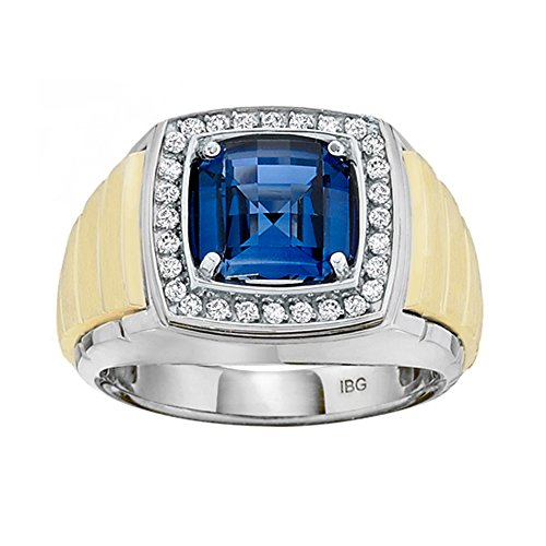 Men's Sterling Silver and 10K Yellow Gold 1/4ct tw Diamond and Created Sapphire Ring (13) (Ring Yellow Men Sapphire)
