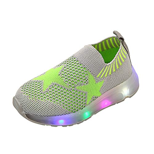 - ONLY TOP Infant Toddler Kids Girls Boys Cartoon LED Light Up Mesh Breathable Sneakers Luminous Sport Shoes Green