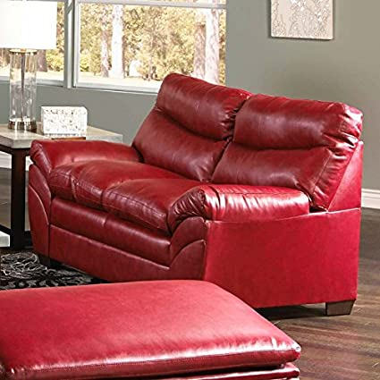 amazon com simmons upholstery soho bonded leather loveseat kitchen