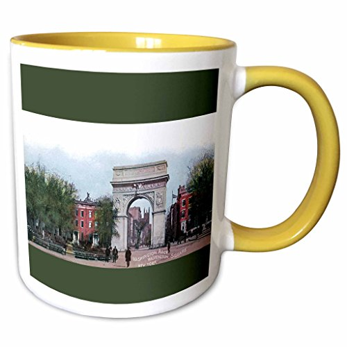 3dRose BLN Vintage New York City Collection - Washington Arch Washington Square New York Postcard - 15oz Two-Tone Yellow Mug (mug_170677_13)