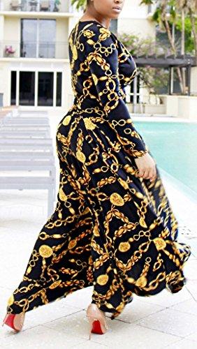 Damen Maxikleider Partykleid Empire Kleider Langarm O Ausschnitt In The Waist Figurbetont Die Neue Metallischen Chain Blumendrucken Einteiler 2017