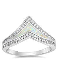 CHOOSE YOUR COLOR Sterling Silver Chevron Ring