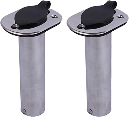 Hoffen 2Pcs Boat Stainless Steel Fishing Rod Holder Flush Mount 15 30 90 Degree with PVC Cap,Inner Tube and Gasket