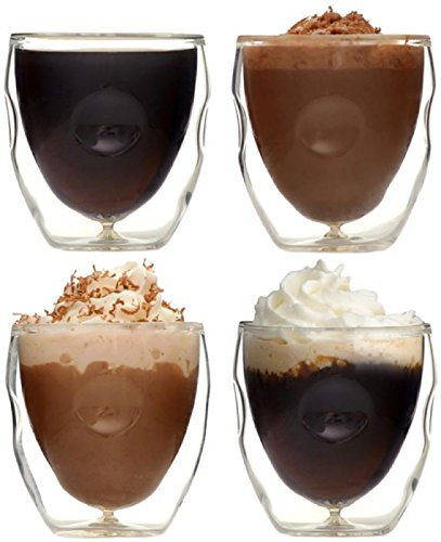 Ozeri Moderna Artisan Series Double Wall Beverage and Espresso Shot Glasses, 2-Ounce, Set of 4