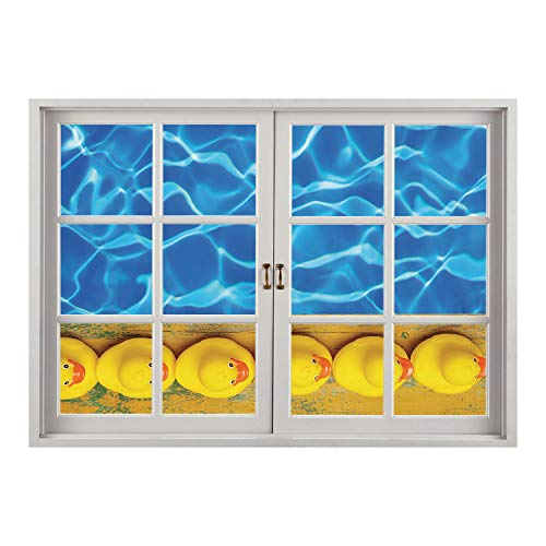 SCOCICI Removable Wall Sticker/Wall Mural/Yellow and Blue,Cute Rubber Ducks Lined Up Near The Pool Azure Water Fun Summer Decorative,Aqua Orange Yellow/Wall Sticker Mural