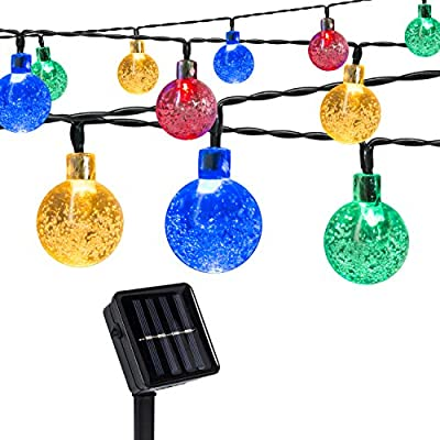 Aokairuisi 8 Modes Globe Solar String Light 30 LED Fairy Crystal Ball light for Christmas Garden Patio Lawn Party Wedding Festival and Holiday Decoration