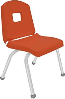 """product image for Creative Colors 1-Pack 14"""" Kids Preschool Stackable Split Bucket Chair in Autumn Orange with Platinum Silver Frame and Ball Glide"""