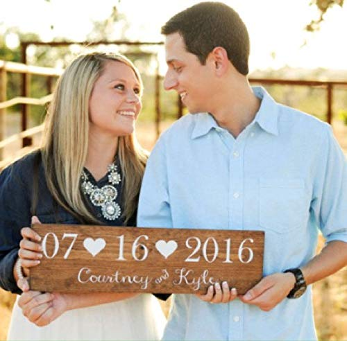Handmade Wooden Rustic Wedding Date Sign - Wedding gift - Save the Date Photo Prop - Rustic Wedding Sign ()
