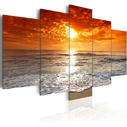 Bilder-200×100-cm-XXL-Format-Fertig-Aufgespannt-TOP-Vlies-Leinwand-5-Teilig-Wand-Bild-Kunstdruck-Wandbild-See-Natur-Meer-Strand-051401-200×100-cm-BD-XXL