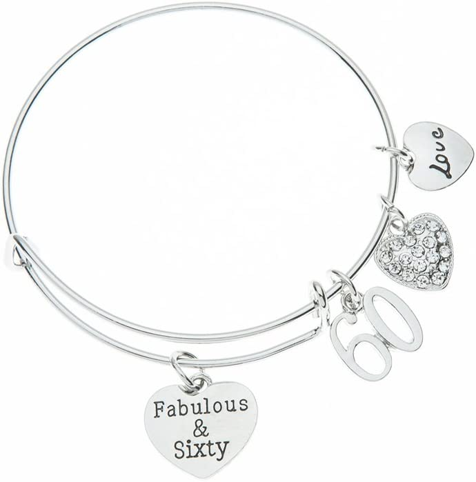 Infinity Collection 60th Birthday Gifts for Women, 60th Birthday Charm Bracelet, Adjustable Bangle, Perfect 60th Birthday Gift Ideas