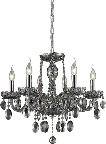 Elk 80042/6 20 Balmoral 6-Light Chandelier With Smoke Plated Crystal Glass Shade, 2 2 23