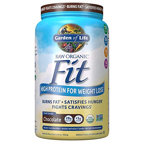 (Garden of Life Organic Meal Replacement - Raw Organic Fit Powder, Chocolate - High Protein for Weight Loss (28g) plus Fiber, Probiotics & Svetol, Organic & Non-GMO Vegan Nutritional Shake, 20 Servings)