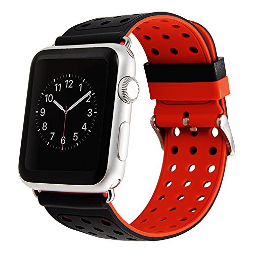 Maxjoy Compatible for Apple Watch Band, 42mm iWatch Bands Soft Silicone Strap Replacement Bracelet Wristband with Metal Buckle Compatible for Apple Watch Series 3 2 1, Nike Sport Edition, Black + Red (1 1 2 Turn Buckle)