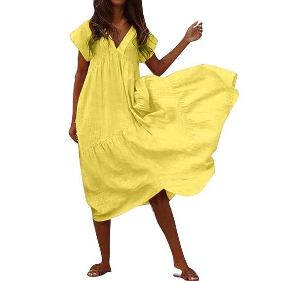 Lavany Womens Fashion Swing Maxi Dresses Casual V Neck Short Sleeve Beach Maxi Dress