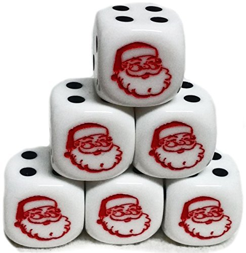 Custom & Unique {Standard Medium 16mm} 6 Ct Pack Set of 6 Sided [D6] Square Cube Shape Playing & Game Dice w/ Rounded Corner Edges w/ Christmas Happy Santa Face - A Shape Face For What Glasses Square
