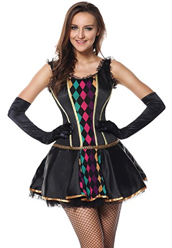 Harlequin Plus Size Costumes (Sibeawen Women's Mardi Gras Masquerade Costumes Black Small/Medium)
