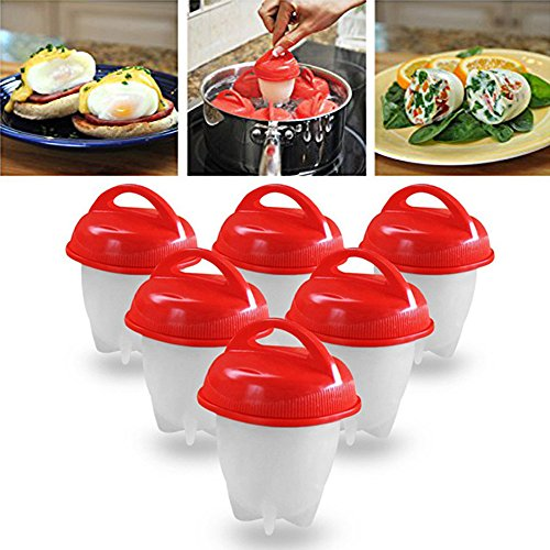 6Pcs/Set Nonstick Egg Cooker Hard Boiled Eggs Without The Shell Eggies Egg Steamer PP+ Silicone Egg Tool Maker Cooker.