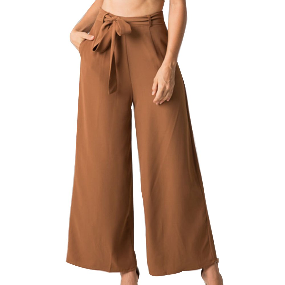 Women's Vintage Casual Loose Culottes High Waisted Wide Leg Belted Palazzo Pants Brown L