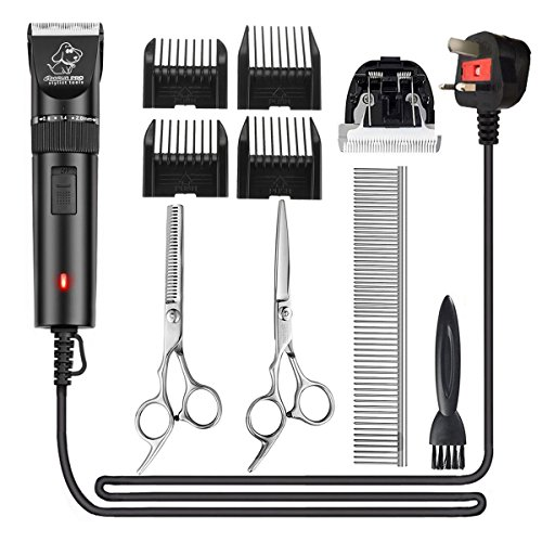Pet Grooming Clippers, Focuspet Corded Low Noise Dog Grooming Clippers Kit 2.8 Meter Electric Hair Trimming Clippers Set 12 V Motor Pet Hair Shaver for Small Medium Large Dogs Cats Other Animals Black