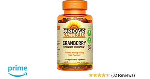 Amazon.com: Sundown Naturals® Super Cranberry 8400 mg Plus Vitamin D3 1000 IU, 150 Softgels: Health & Personal Care
