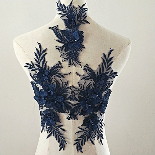 beaded flower sequence lace applique motif sewing bridal wedding 3in1 A5 3D (Navy)