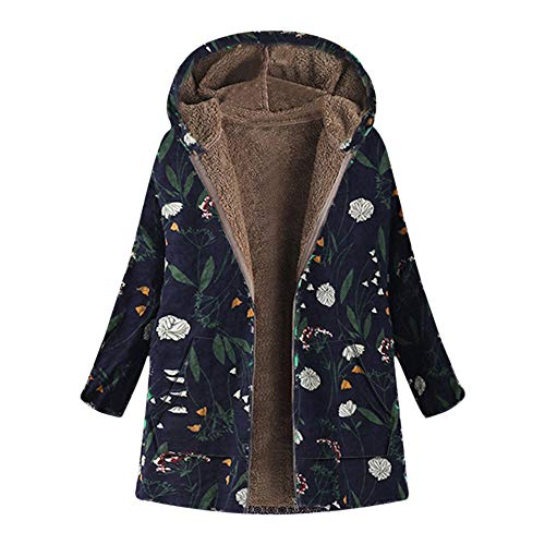 Zackate Womens Winter Warm Outwear, Floral Print Hooded Pockets Vintage Oversize Coats Down - Coat Vintage Classic