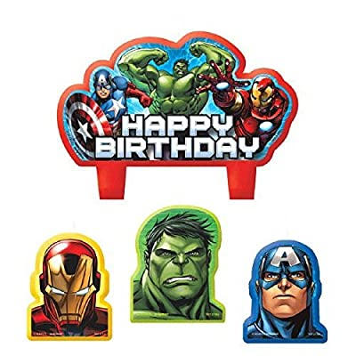 "Party Time Avengers Molded Mini Character Birthday Candle Set, Pack of 4, Red , 2.25"" x 3.25"" Wax: Toys & Games"