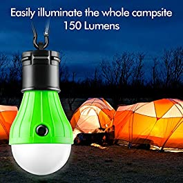 FLY2SKY Tent Lamp Portable LED Tent Light 4 Packs Hurricane Emergency Lights Camping Light Bulbs Camping Tent Lantern Bulb Camping Equipment for Camping Hiking Backpacking Fishing, Battery Powered