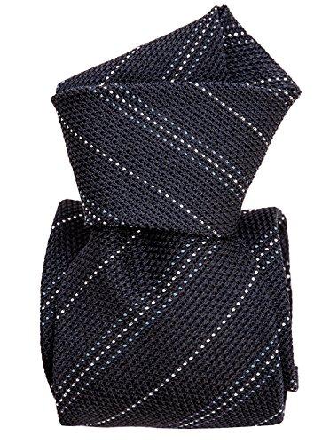 - Elizabetta Men's Italian Silk Grenadine Tie, Navy Stripes, Extra Long