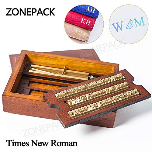 ZONEPACK Stamping Mold Copper Brass Stamping Flexible Letters Numbers Alphabets Symbols Characters Molds CNC Engraving Molds for Hot Foil Stamping Machine (Time New Roman with Wood Box)