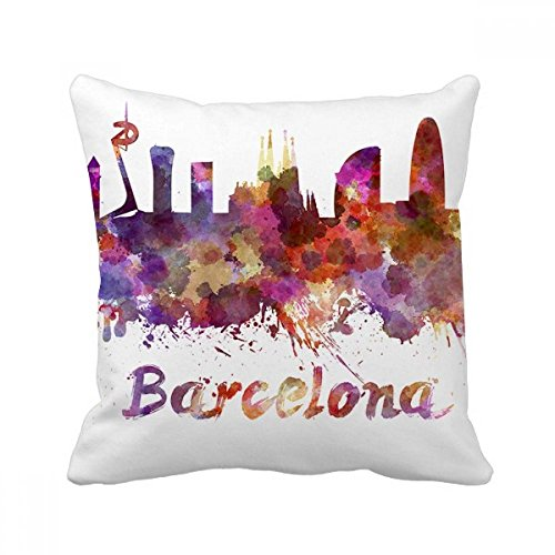 DIYthinker Barcelona Spain City Watercolor Square Throw Pillow Insert Cushion Cover Home Sofa Decor Gift by DIYthinker