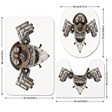 3 Piece Bathroom Mat Set,Industrial,Stylized-Collage-with-Owl-Figure-Cog-Hardware-Gear-Machinery-Animal-Print-Decorative,Grey-White-Brown.jpg,Bath Mat,Bathroom Carpet Rug,Non-Slip