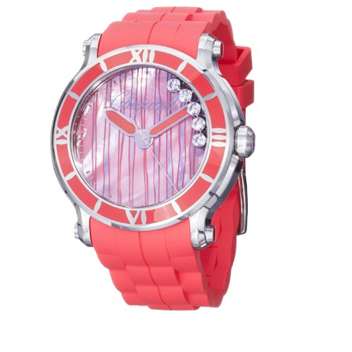 - Chopard Women's 288524-3002 Happy Sport Round Pink Mother-Of-Pearl Line Designed Diamond Dial Watch
