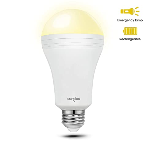 Sengled LED Emergency Light Bulb with Built-in Rechargeable Battery, 3  Hours of Light in Power Outage, E26 Base A19 LED Light Bulb, 40W Equivalent