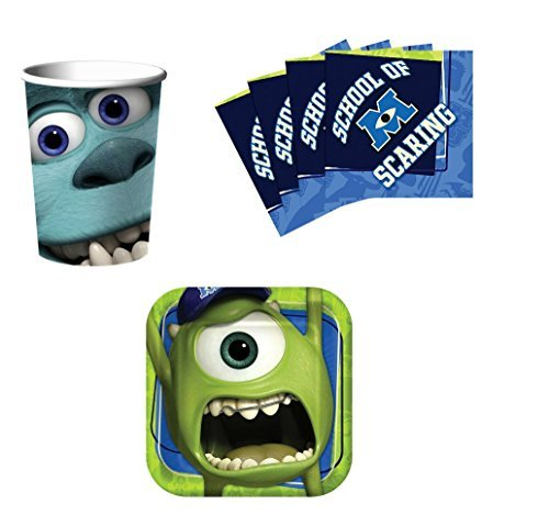 Monsters Inc University Birthday Party Supplies Set Plates Napkins Cups Kit for 16 by Hallmark]()