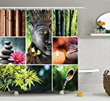 Ambesonne Spa Decor Collection, Oriental Culture Mosaic with Buddha Aromatic Candles Water Sounds Nature Image, Polyester Fabric Bathroom Shower Curtain Set with Hooks, Green Teal Pink Peru