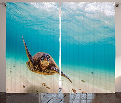 (Ambesonne Hawaiian Decorations Collection, Underwater Scuba Diving Sea Turtle Nature Animal Swimming Wildlife Theme, Living Room Bedroom Curtain 2 Panels Set, 108 X 84 Inches, Blue Beige Brown)