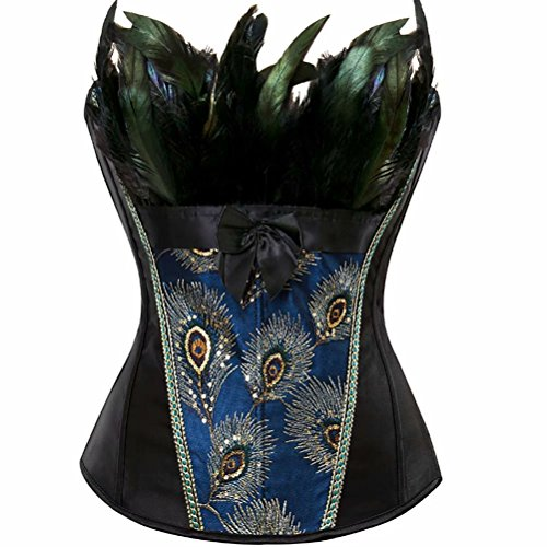 Naughty Pants (jutrisujo Overbust Corsets for Women Plus Size Lingerie Embroidery Bustiers Sexy Peacock Nobility Feather Burlesque Tops, 2871black, 6XL(For Waist 40-41inch))
