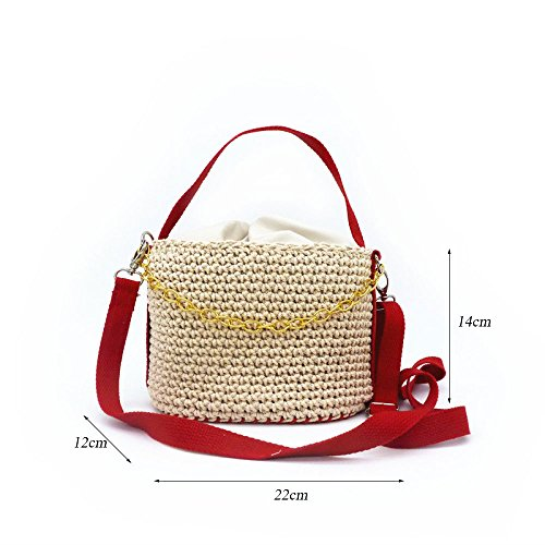 Diagonal Bag Straw Gaoqq Brown Beach Red Bag Chain Rattan Bag Vacation Bag Shoulder Small xUIqvdUr