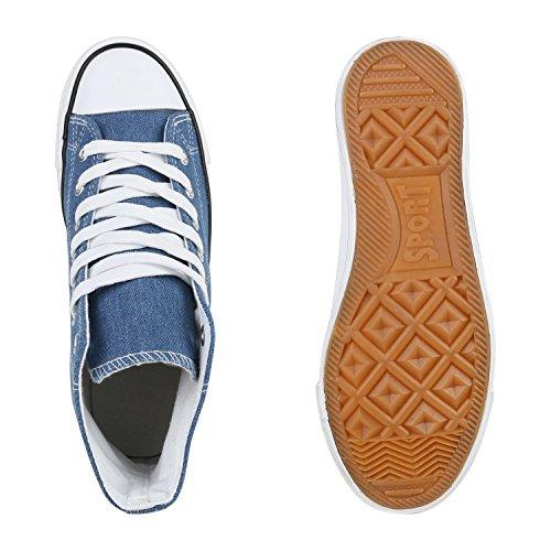 Herren Schuhe Sneakers Sneaker High Denim Turnschuhe Camouflage Stoffschuhe Schnürer Flandell Weiss Blau