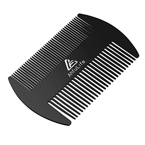Stainless Steel Metal Hair&Beard Comb – Anti-Static Dual Action Beard Comb – Credit Card Size Comb Perfect for Wallet and Pocket – Presented in Gift Box (Stainless Steel Comb(Black))