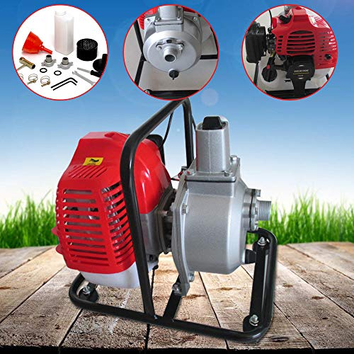GDAE10 Gas Gasoline Water Pump, 43CC 2HP 7000rmp 2-Stroke Industrial Water Pump Air-Cooled Gasoline High Pressure Pump for Irrigation Pool, Landscaping or Gardening -
