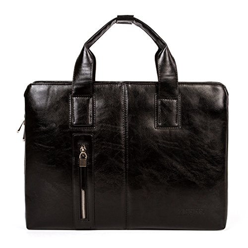 Men Leather Business Tote Bag Office Briefcase Casual Handbag Waterproof Shoulder Bag (Soft Attache)