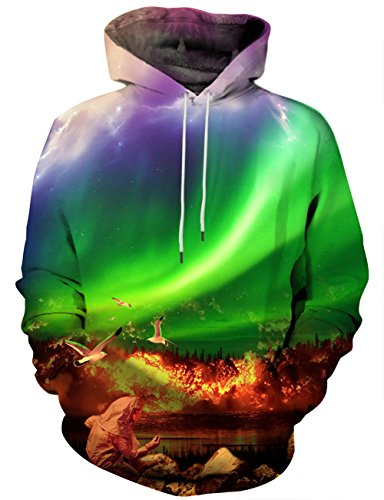 Linnhoy Unisex Hoodie 3D Galaxy Print Hooded Sweatshirt Pullover, - Embroidered Hooded Pullover